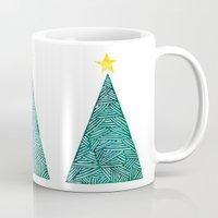 christmas tree Mugs featuring Christmas tree by Bridget Davidson
