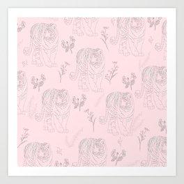Wildflower Tiger Art Print