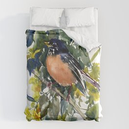American Robin on Linden Tree, Deep blue Cottage Woodland style design Comforters