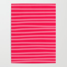 Fuchsia Brush Stroke Stripes Poster