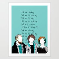 paramore Art Prints featuring Tell me it's okay by Marconte