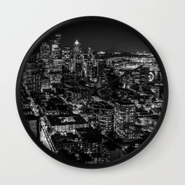 Seattle from the Space Needle in Black and White Wall Clock