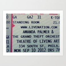 Amanda Palmer & the GTO: Standing Room Art Print