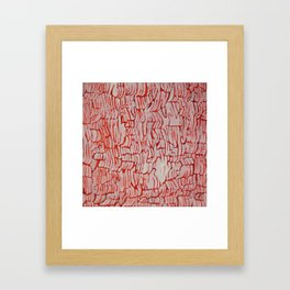 Orange/Red and White Abstract Texture Painting Framed Art Print