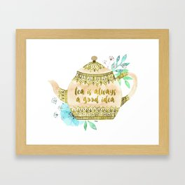 Watercolor Teapot Flowers Framed Art Print