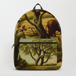 Classical Masterpiece 'Noon Time' Old West Harvest Time portrait painting by Thomas Hart Benton Backpack