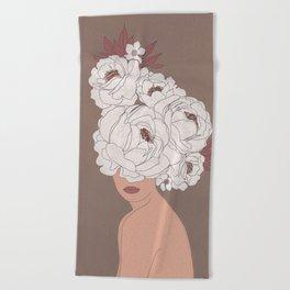 Woman with Peonies Beach Towel