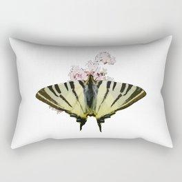 Scarce Swallowtail On Wild Garlic Flowers Vector Isolated Rectangular Pillow