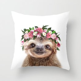 Baby Sloth With Flower Crown, Baby Animals Art Print By Synplus Throw Pillow
