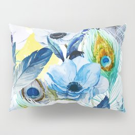 Watercolor Peacock Feather Pattern Pillow Sham