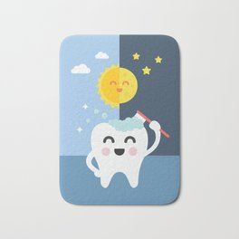 Brush your Teeth Morning and Night Bath Mat