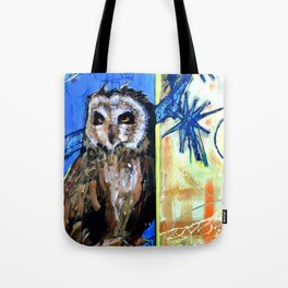 """Night Owl"" Original, art, Owl art , owl painting, Great horned owl, bird of prey, wildlife lover.. Tote Bag"
