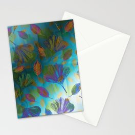 Ginkgo Leaves Under Water Stationery Cards