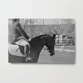 Black and White Dressage Metal Print