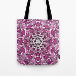 12-Fold Mandala Flower in Pink Tote Bag