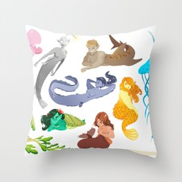 Unconventional Mermaids Throw Pillow