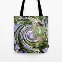pixies Tote Bags featuring Green Flower fairy by Just Kidding