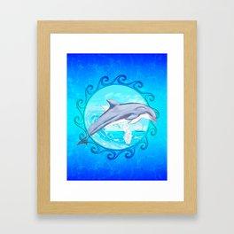 Dolphin Maori Sun Framed Art Print