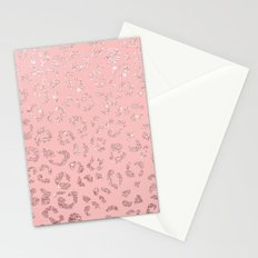 Modern faux rose gold glitter leopard ombre pink pattern Stationery Cards