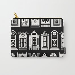 Moroccan Doors – White Ink on Black Carry-All Pouch