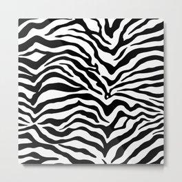 Zebra Print Black and White Metal Print