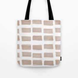 Brush Strokes Horizontal Lines Nude on Off White Tote Bag