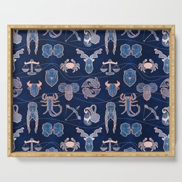Geometric astrology zodiac signs // navy blue and coral Serving Tray