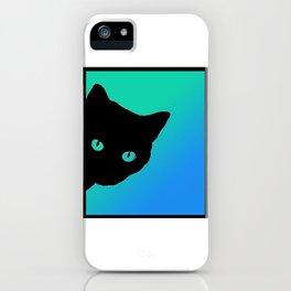 Black Cat Blue Green Tshirt iPhone Case