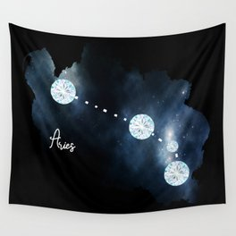 Aries Constellation in Diamonds - Star Signs and Birth Stones Wall Tapestry