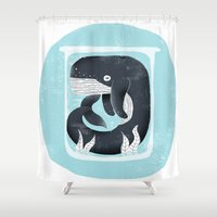 the whale Shower Curtains featuring Whale by Rodrigo Fortes