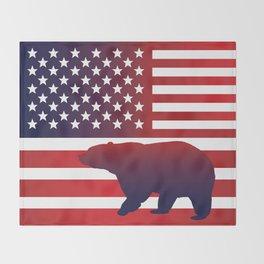 American flag Bear California Throw Blanket