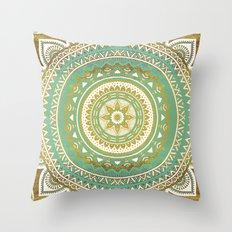 Blue and Gold Mandala Throw Pillow