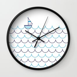 Sail Boat on Water Wall Clock