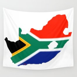South Africa Map with South African Flag Wall Tapestry