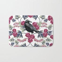 Crows, Bleeding Hearts & Roses Floral/Botanical Pattern Bath Mat