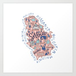 Map of Serbia Art Print