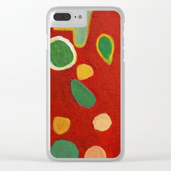 Scattered Things over Red Clear iPhone Case