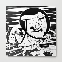 Attack of the 50 Ft. Pizza BW Metal Print