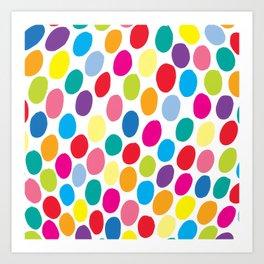 Colour Spots White Art Print