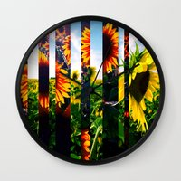 maryland Wall Clocks featuring Sunflowers in Maryland by kpatron