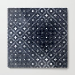 Blue Indigo Pattern Metal Print