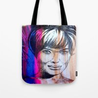 angelina jolie Tote Bags featuring Angelina Jolie by Pablo Moitzheim