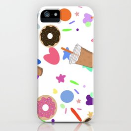 Iced coffee sprinkles and donuts iPhone Case