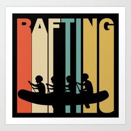 Retro Style White Water Rafting Art Print