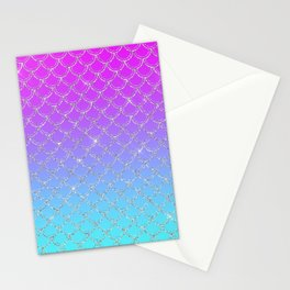 Gradient Mermaid Scales Stationery Cards