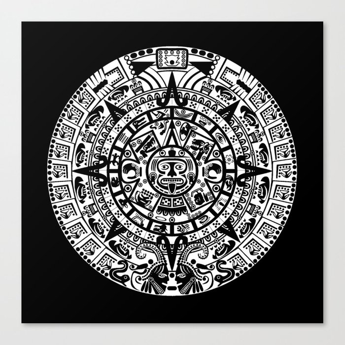Mayan Calendar Canvas Print By Thinlinetextiles
