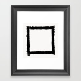 Square Strokes Black on White Framed Art Print