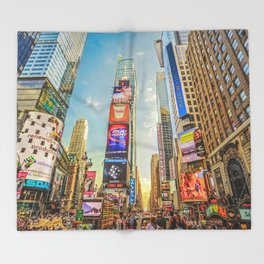 Times Square Hustle Throw Blanket