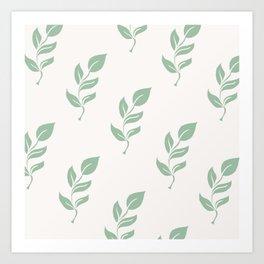 Green Herb Leaf Print Art Print