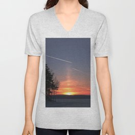 Flying at sunset Unisex V-Neck